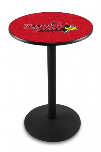 Illinois State Redbirds Black Wrinkle Bar Table with Round Base