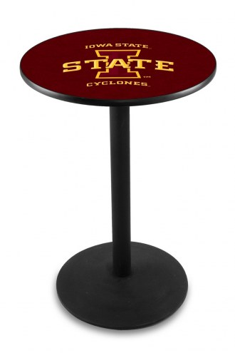 Iowa State Cyclones Black Wrinkle Bar Table with Round Base