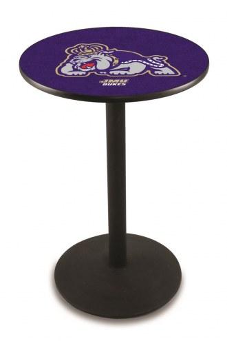 James Madison Dukes Black Wrinkle Bar Table with Round Base