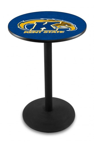 Kent State Golden Flashes Black Wrinkle Bar Table with Round Base