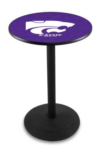 Kansas State Wildcats Black Wrinkle Bar Table with Round Base