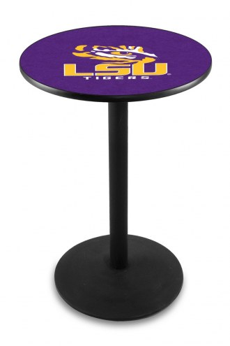 LSU Tigers Black Wrinkle Bar Table with Round Base