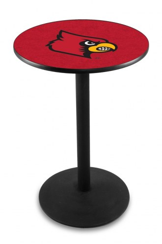 Louisville Cardinals Black Wrinkle Bar Table with Round Base