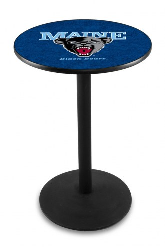 Maine Black Bears Black Wrinkle Bar Table with Round Base