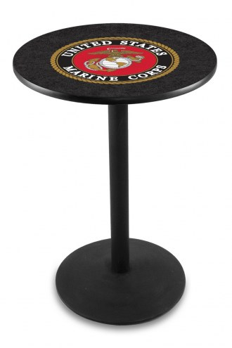 U.S. Marine Corps Black Wrinkle Bar Table with Round Base