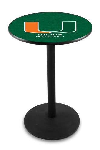 Miami Hurricanes Black Wrinkle Bar Table with Round Base