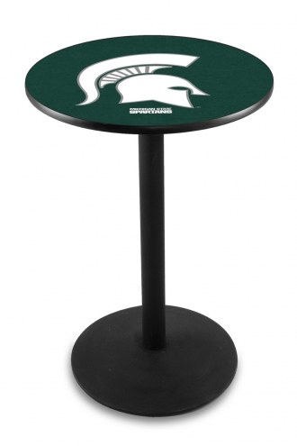 Michigan State Spartans Black Wrinkle Bar Table with Round Base