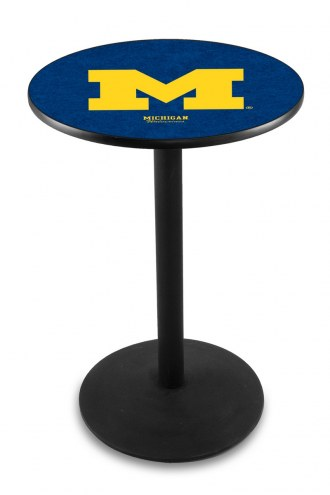 Michigan Wolverines Black Wrinkle Bar Table with Round Base