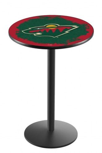 Minnesota Wild Black Wrinkle Bar Table with Round Base