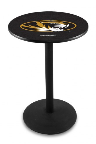 Missouri Tigers Black Wrinkle Bar Table with Round Base