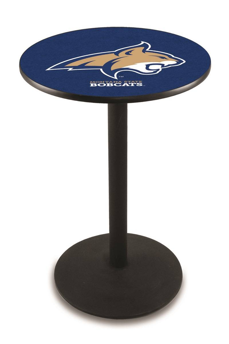 Montana State Bobcats Black Wrinkle Bar Table With Round Base