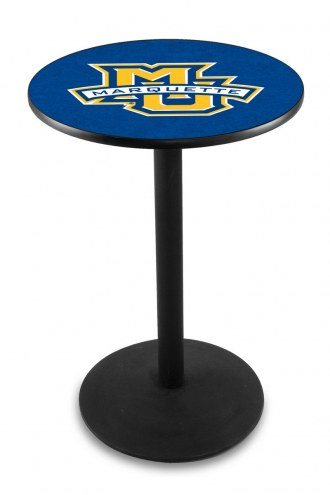Marquette Golden Eagles Black Wrinkle Bar Table with Round Base