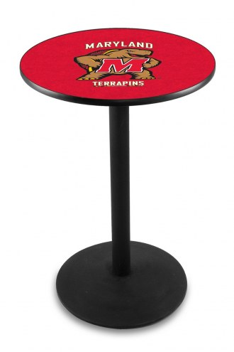 Maryland Terrapins Black Wrinkle Bar Table with Round Base