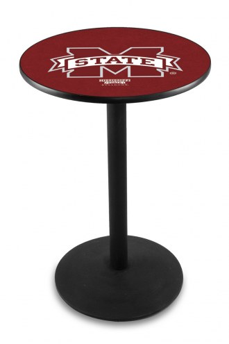 Mississippi State Bulldogs Black Wrinkle Bar Table with Round Base
