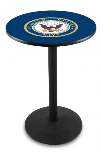 U.S. Navy Midshipmen Black Wrinkle Bar Table with Round Base
