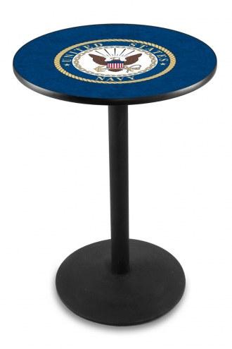 U.S. Navy Midshipmen Black Wrinkle Bar Table with Round Base