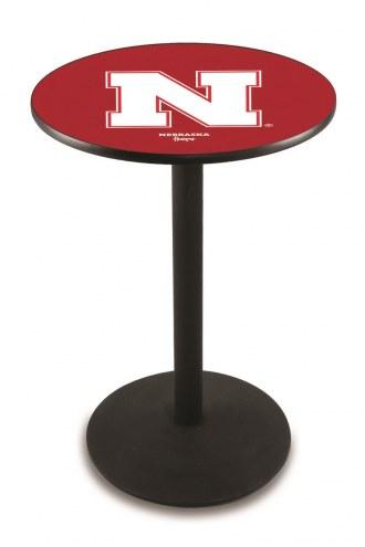 Nebraska Cornhuskers Black Wrinkle Bar Table with Round Base
