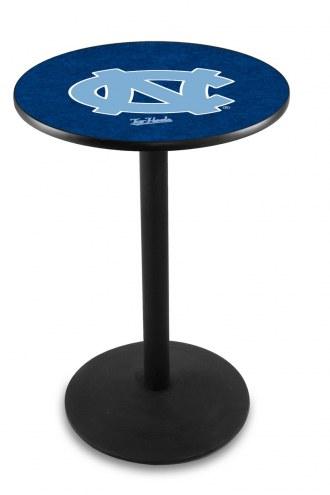 North Carolina Tar Heels Black Wrinkle Bar Table with Round Base