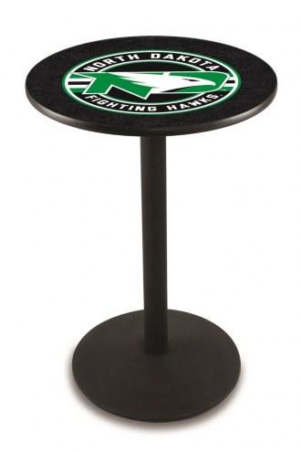 University of North Dakota Black Wrinkle Bar Table with Round Base