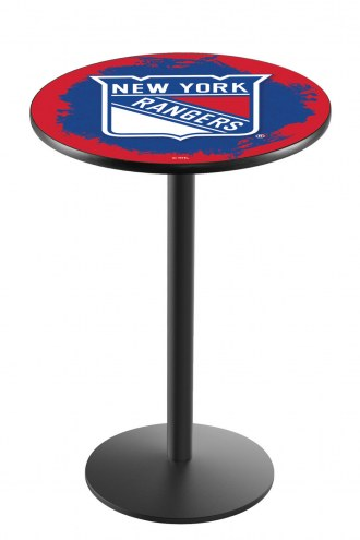 New York Rangers Black Wrinkle Bar Table with Round Base
