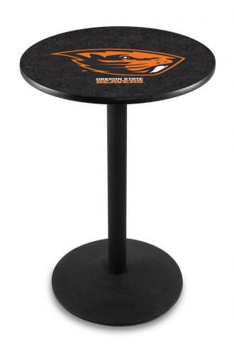 Oregon State Beavers Black Wrinkle Bar Table with Round Base