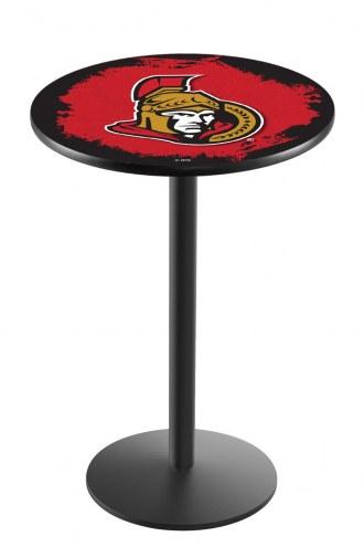 Ottawa Senators Black Wrinkle Bar Table with Round Base
