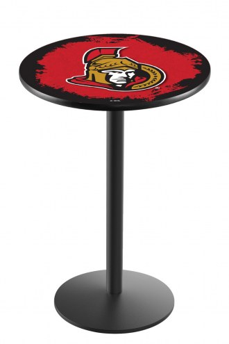 Ottawa Senators Black Wrinkle Bar Table with Round Base