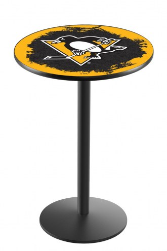 Pittsburgh Penguins Black Wrinkle Bar Table with Round Base