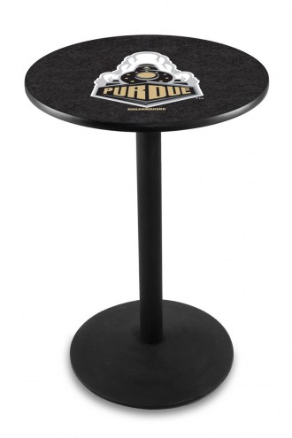 Purdue Boilermakers Black Wrinkle Bar Table with Round Base