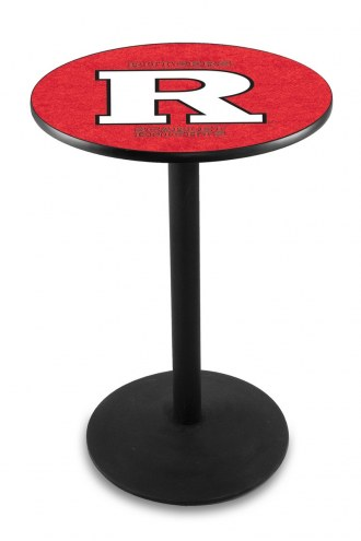Rutgers Scarlet Knights Black Wrinkle Bar Table with Round Base
