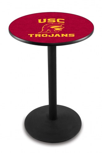 USC Trojans Black Wrinkle Bar Table with Round Base