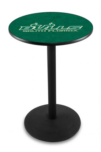 South Florida Bulls Black Wrinkle Bar Table with Round Base