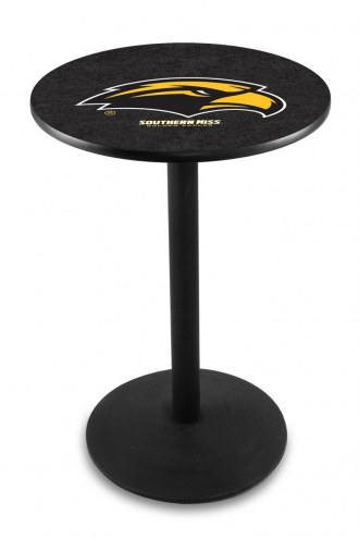 Southern Mississippi Golden Eagles Black Wrinkle Bar Table with Round Base