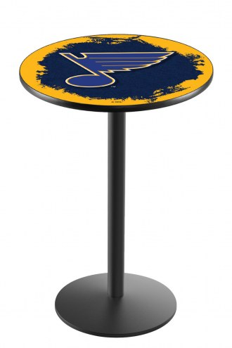 St. Louis Blues Black Wrinkle Bar Table with Round Base