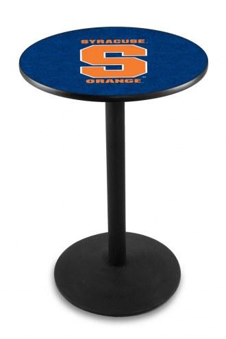 Syracuse Orange Black Wrinkle Bar Table with Round Base