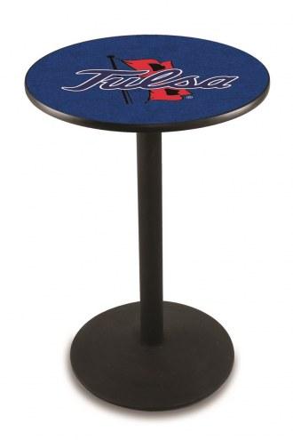 Tulsa Golden Hurricane Black Wrinkle Bar Table with Round Base