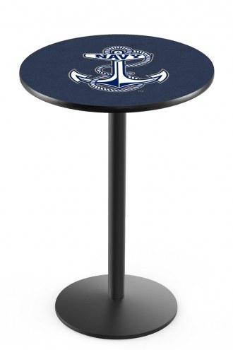 Navy Midshipmen Black Wrinkle Bar Table with Round Base