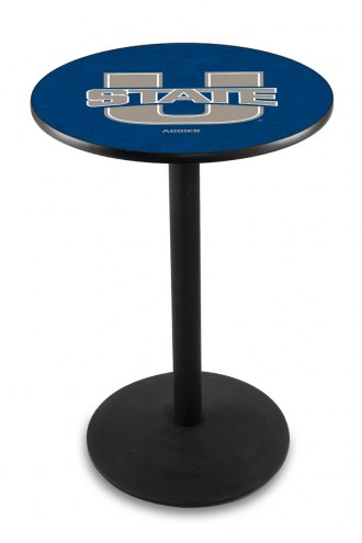Utah State Aggies Black Wrinkle Bar Table with Round Base