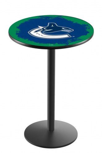 Vancouver Canucks Black Wrinkle Bar Table with Round Base