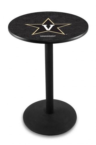 Vanderbilt Commodores Black Wrinkle Bar Table with Round Base