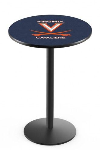 Virginia Cavaliers Black Wrinkle Bar Table with Round Base