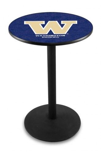 Washington Huskies Black Wrinkle Bar Table with Round Base