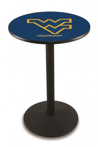 West Virginia Mountaineers Black Wrinkle Bar Table with Round Base