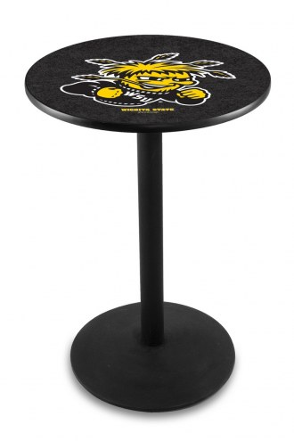 Wichita State Shockers Black Wrinkle Bar Table with Round Base