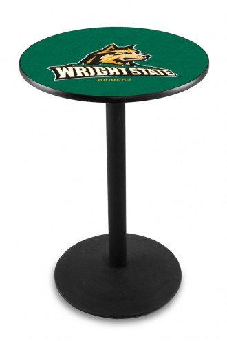 Wright State Raiders Black Wrinkle Bar Table with Round Base