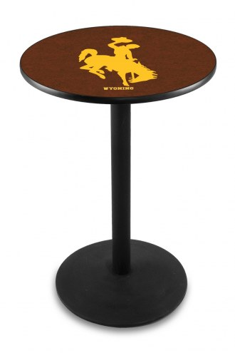 Wyoming Cowboys Black Wrinkle Bar Table with Round Base