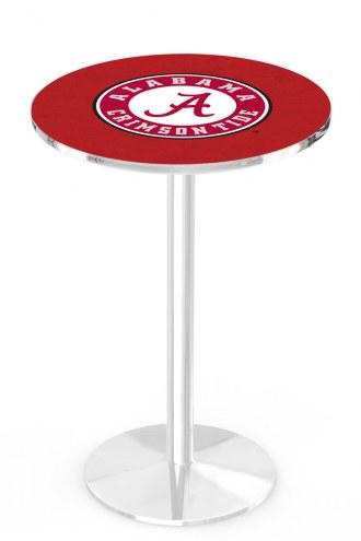 Alabama Crimson Tide Script A Chrome Pub Table with Round Base