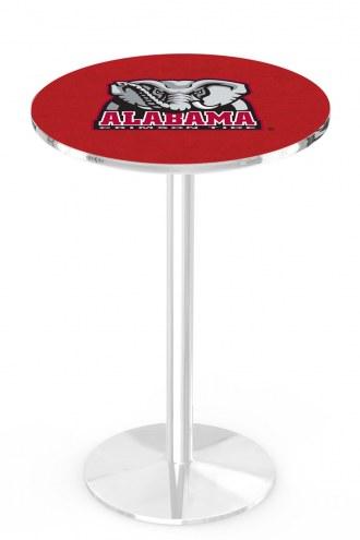 Alabama Crimson Tide Chrome Pub Table with Round Base