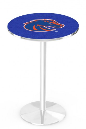 Boise State Broncos Chrome Pub Table with Round Base