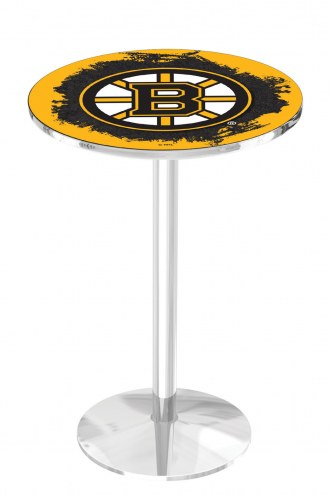Boston Bruins Chrome Pub Table with Round Base